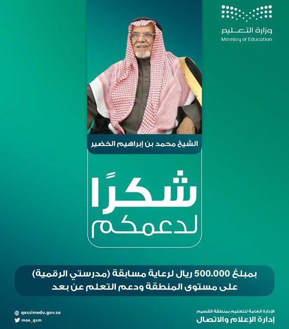 الشيخ محمد بن إبراهيم الخضير يقدم ماليا